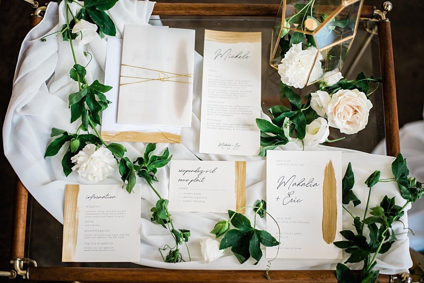 hand painted gold wedding invitation set at Walker Fine Art Gallery Wedding by Boulder Wedding Photographer Jennie Crate