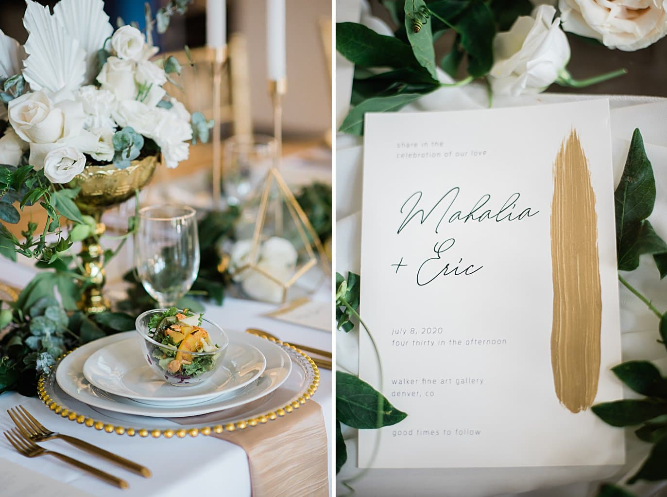 peach salad and gold accents at dinner setting at Walker Fine Art Gallery Wedding by Boulder Wedding Photographer Jennie Crate