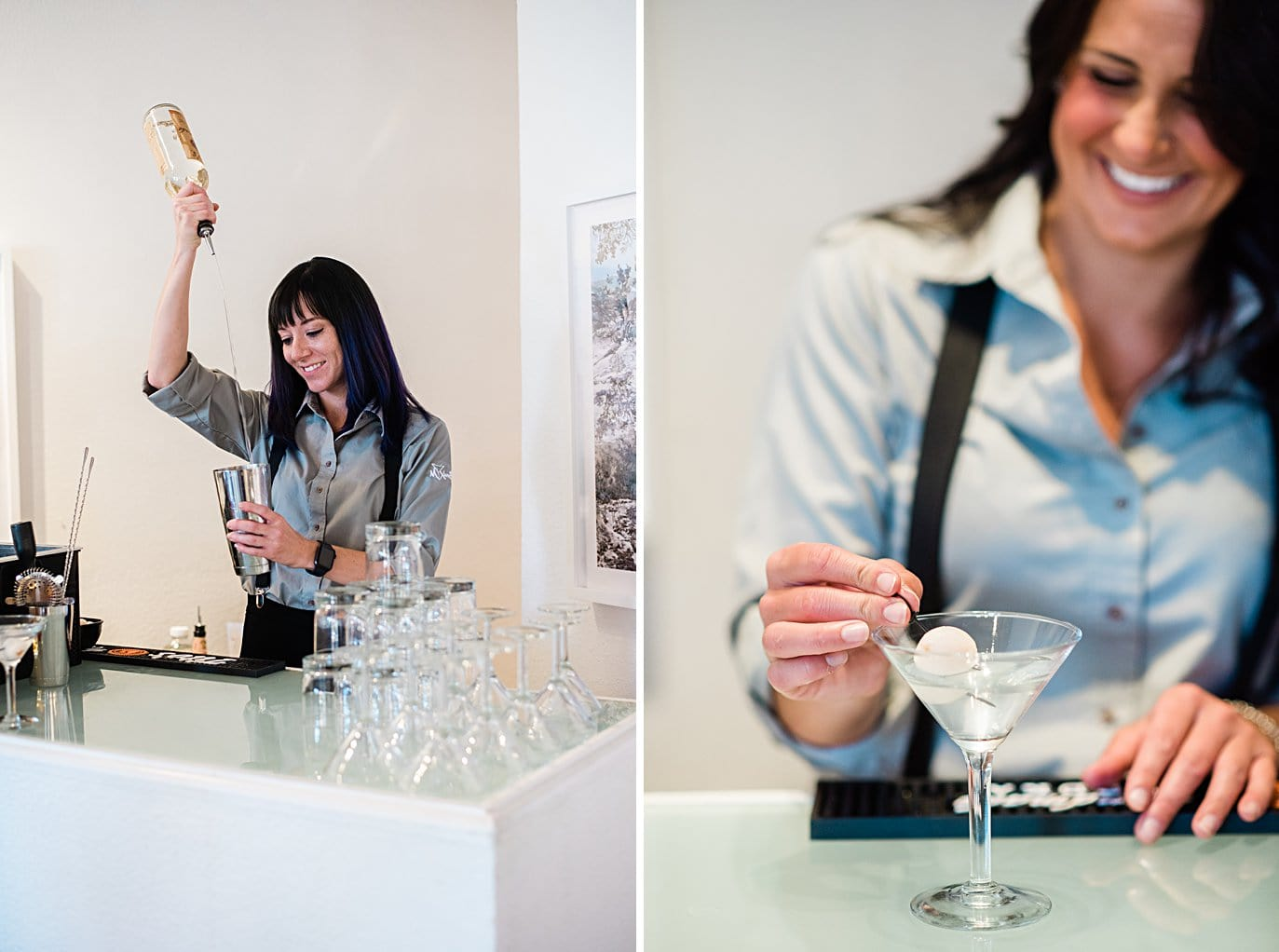 bartenders mixing cocktails at Walker Fine Art Gallery Wedding by Boulder Wedding Photographer Jennie Crate