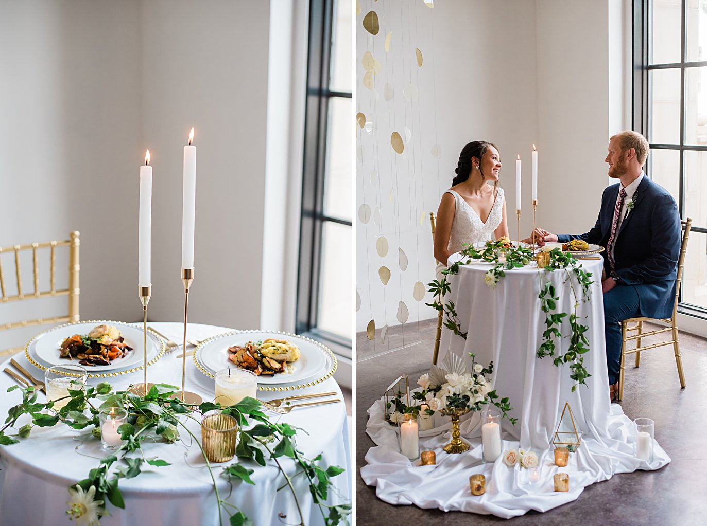 sweatheart table with copper accents and candles at Walker Fine Art Gallery Wedding by Boulder Wedding Photographer Jennie Crate