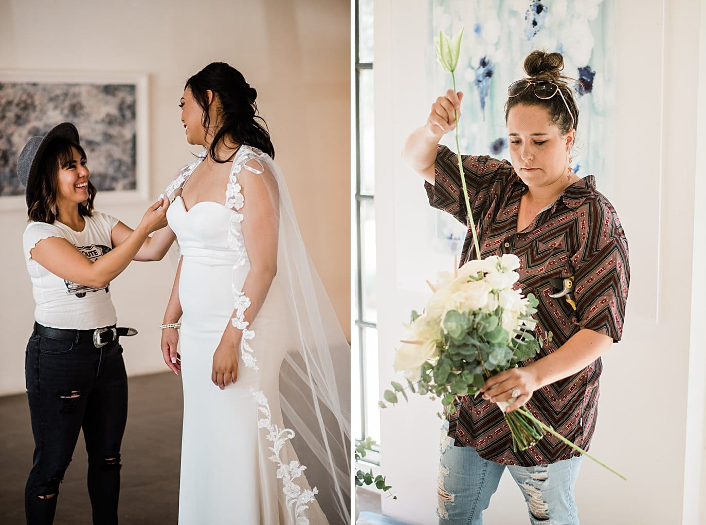 vendors getting ready for styled session at Walker Fine Art Gallery Wedding by Fort Collins Wedding Photographer Jennie Crate
