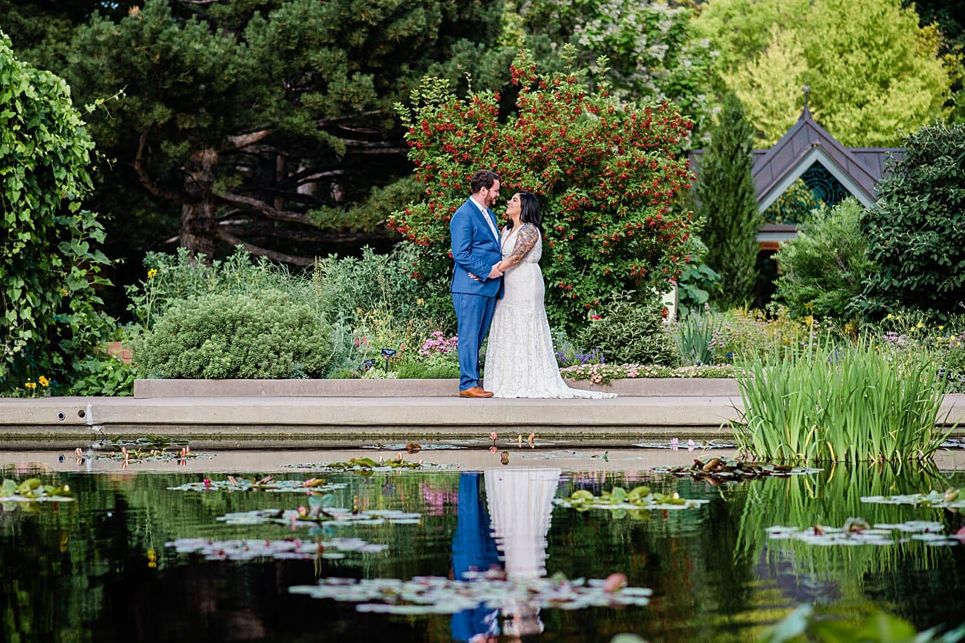 bride and groom during summer wedding at Denver Botanic Gardens wedding by Boulder Wedding Photographer Jennie Crate