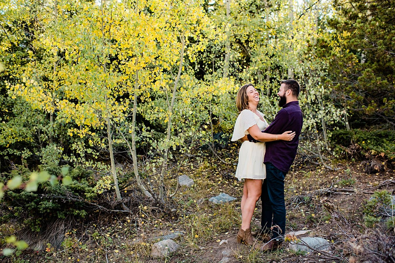 Alberta falls engagement session by Estes Park engagement photographer Jennie Crate