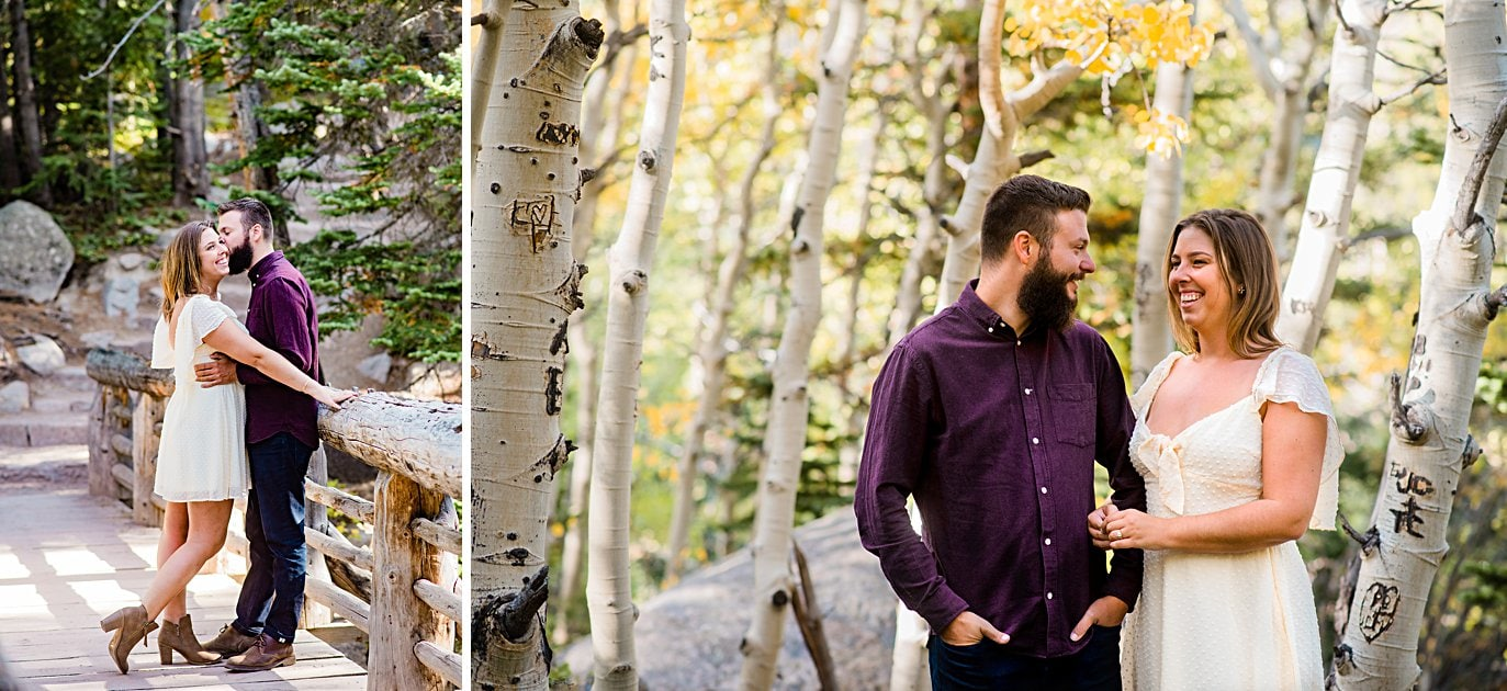 couple in the aspens in the fall at Alberta falls engagement session by Estes Park engagement photographer Jennie Crate