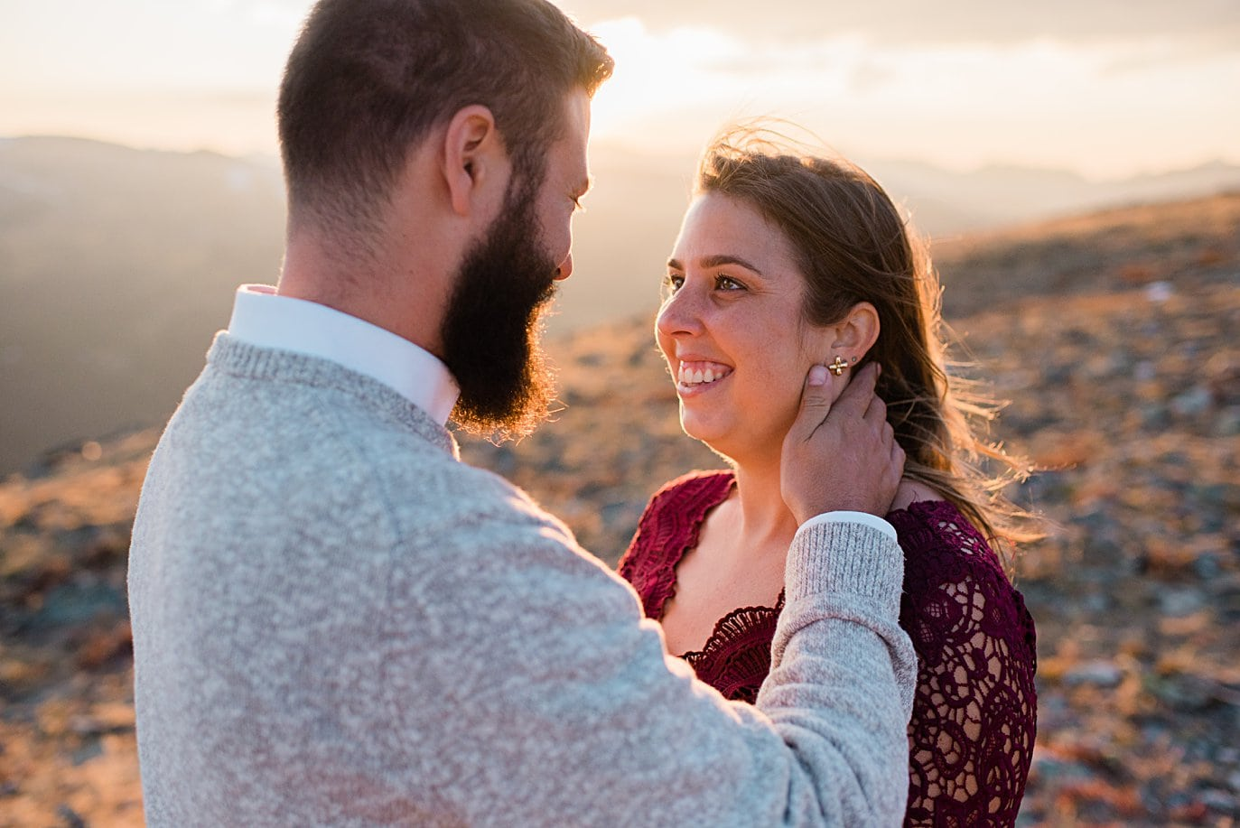 sunset engagement photo at top of trail ridge road by Grand Lake engagement photographer Jennie Crate