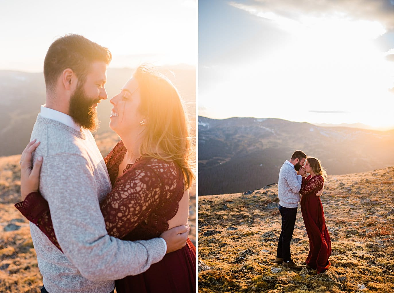 sunset photos at top of trail ridge road by Grand Lake engagement photographer Jennie Crate
