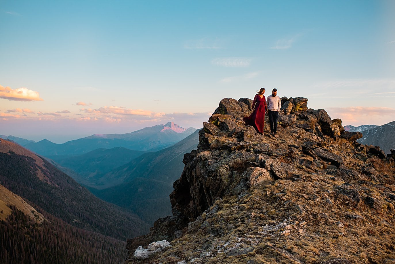 engagement session at top of trail ridge road by Grand Lake engagement photographer Jennie Crate