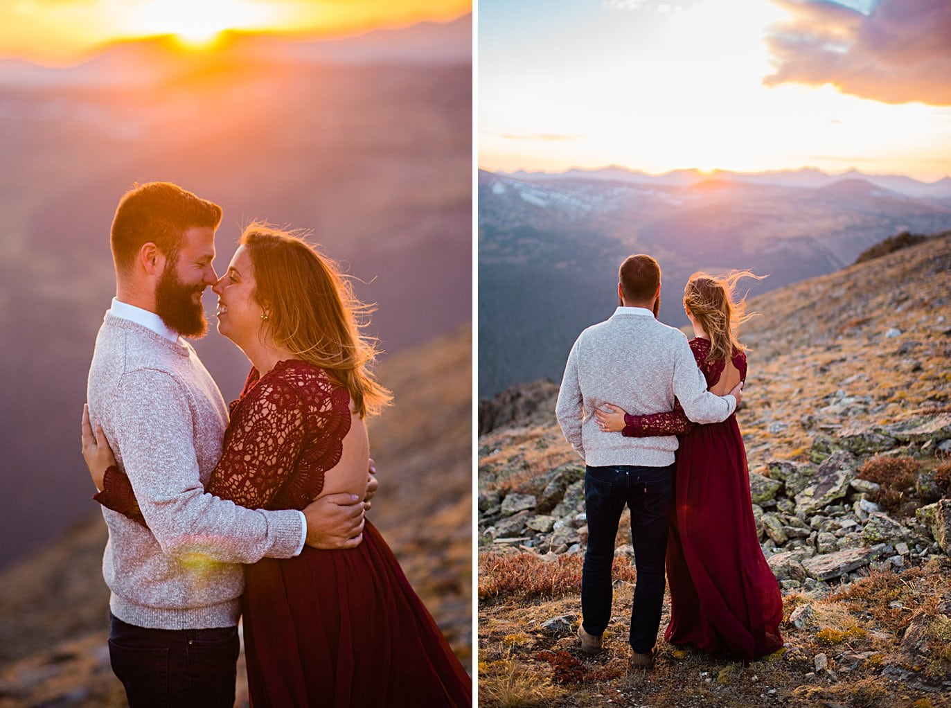 colorful sunset and lace dress at top of trail ridge road by Grand Lake engagement photographer Jennie Crate