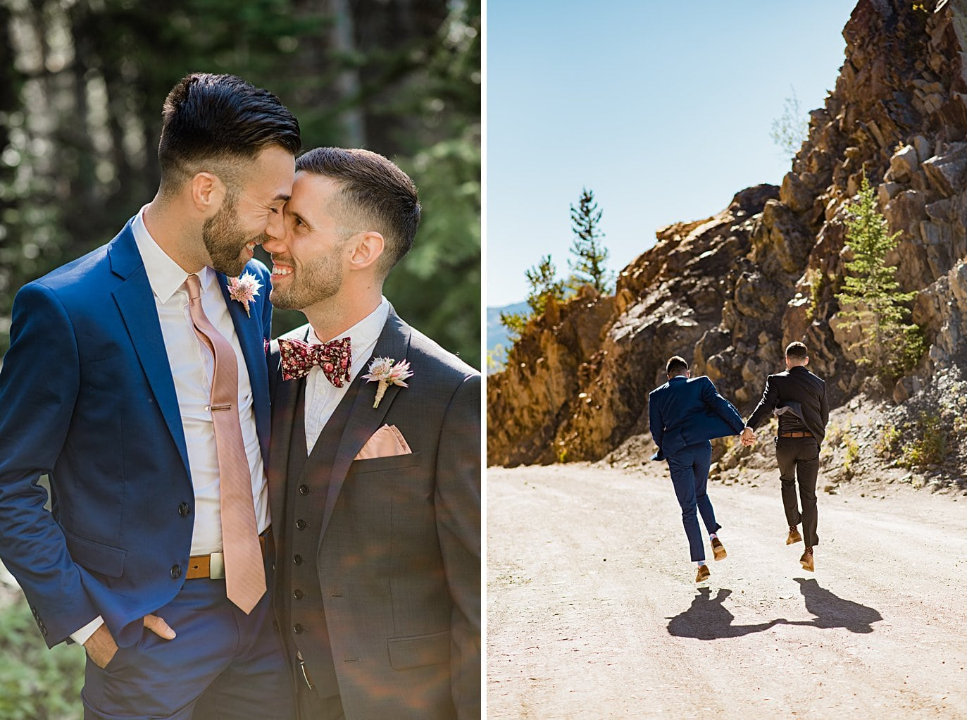 two grooms walking down road at Boras Pass elopement by Breckenridge elopement photographer Jennie Crate