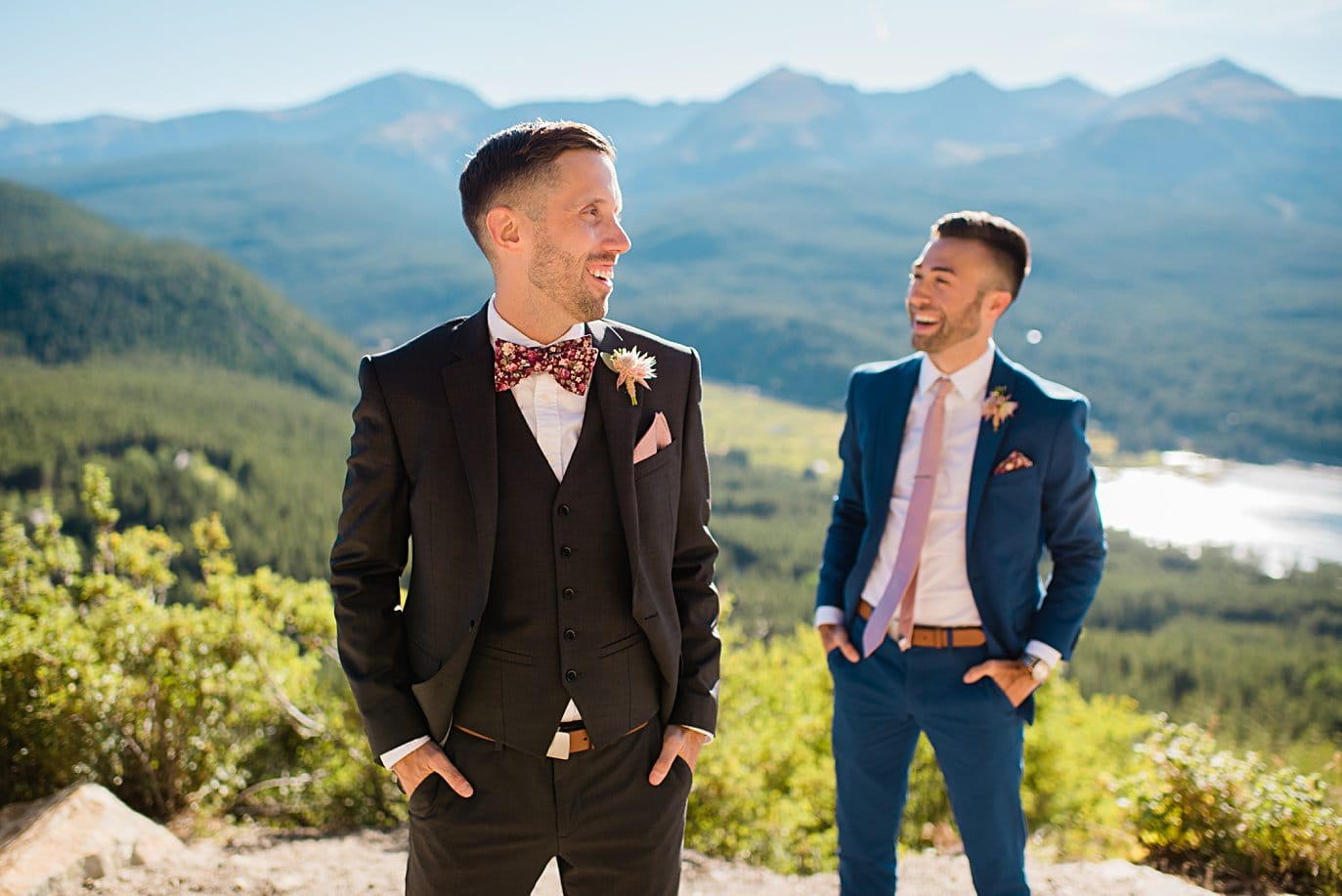 two grooms at overlook on Boreas Pass road at Boras Pass elopement by Breckenridge elopement photographer Jennie Crate