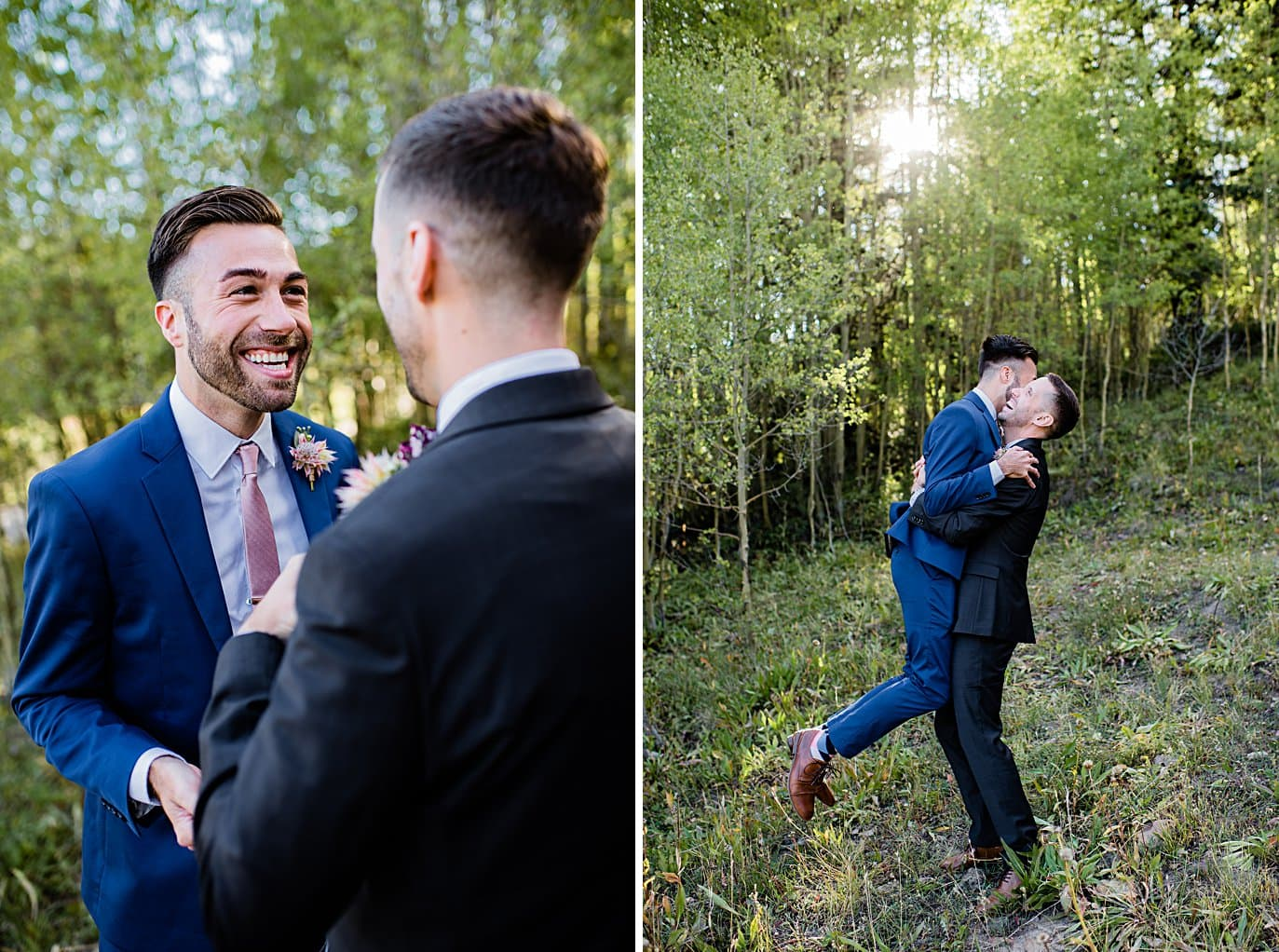 two grooms get excited about upcoming elopement ceremony at Boras Pass elopement by Breckenridge elopement photographer Jennie Crate