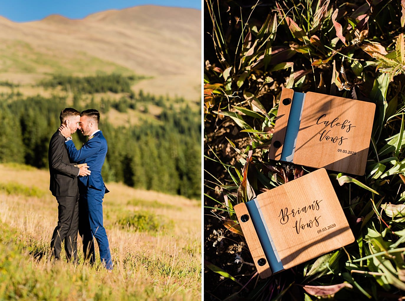 two grooms say vows in private ceremony at Breckenridge Elopement by Colorado gay wedding photographer Jennie Crate