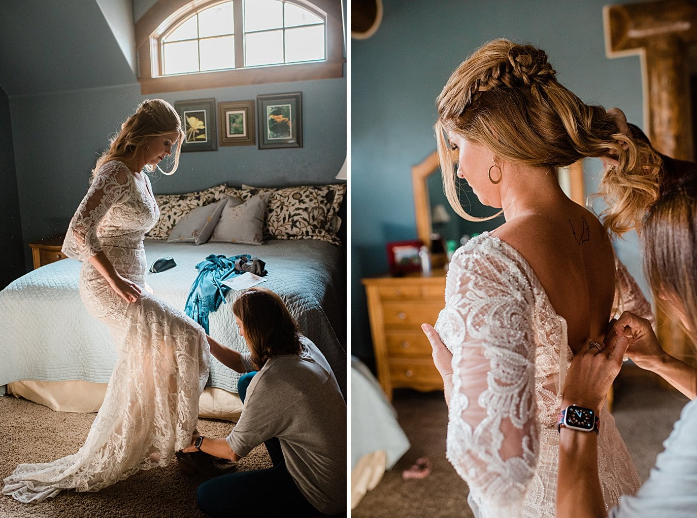 bride gets into custom lace dress at Boreas Pass microwedding by Breckenridge wedding photographer Jennie Crate