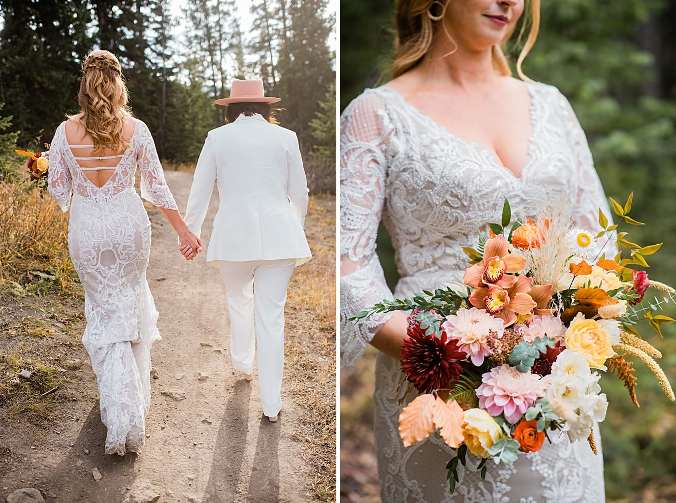 two brides walk hand in hand through forest at Boreas Pass microwedding by Breckenridge wedding photographer Jennie Crate