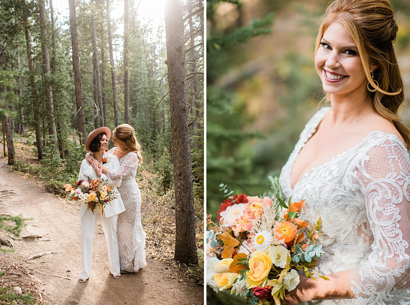 two brides in forest at Breckenridge microwedding by Colorado LGBT wedding photographer Jennie Crate