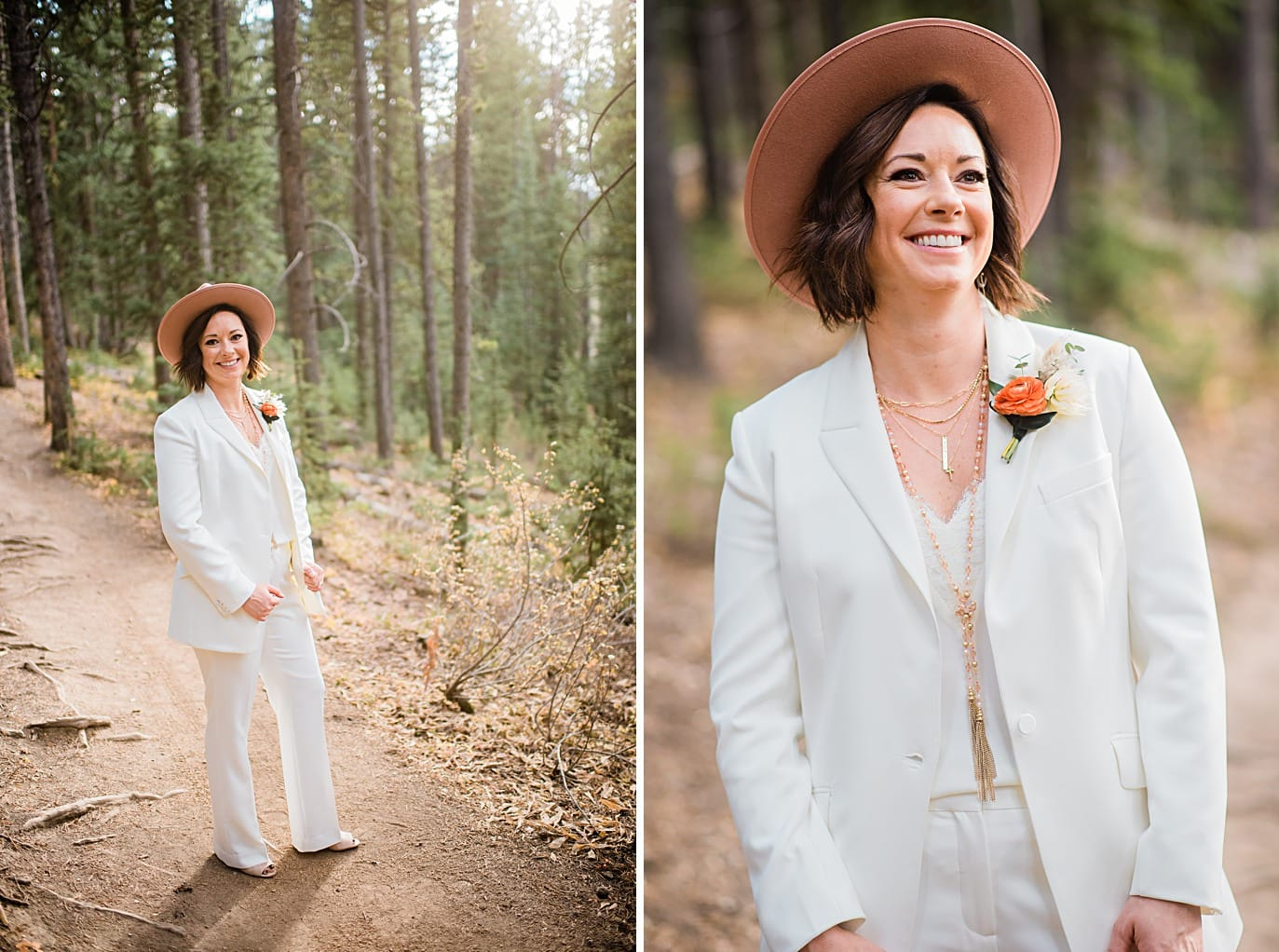 bride in white suit and pink hat at Breckenridge microwedding by Colorado LGBT wedding photographer Jennie Crate
