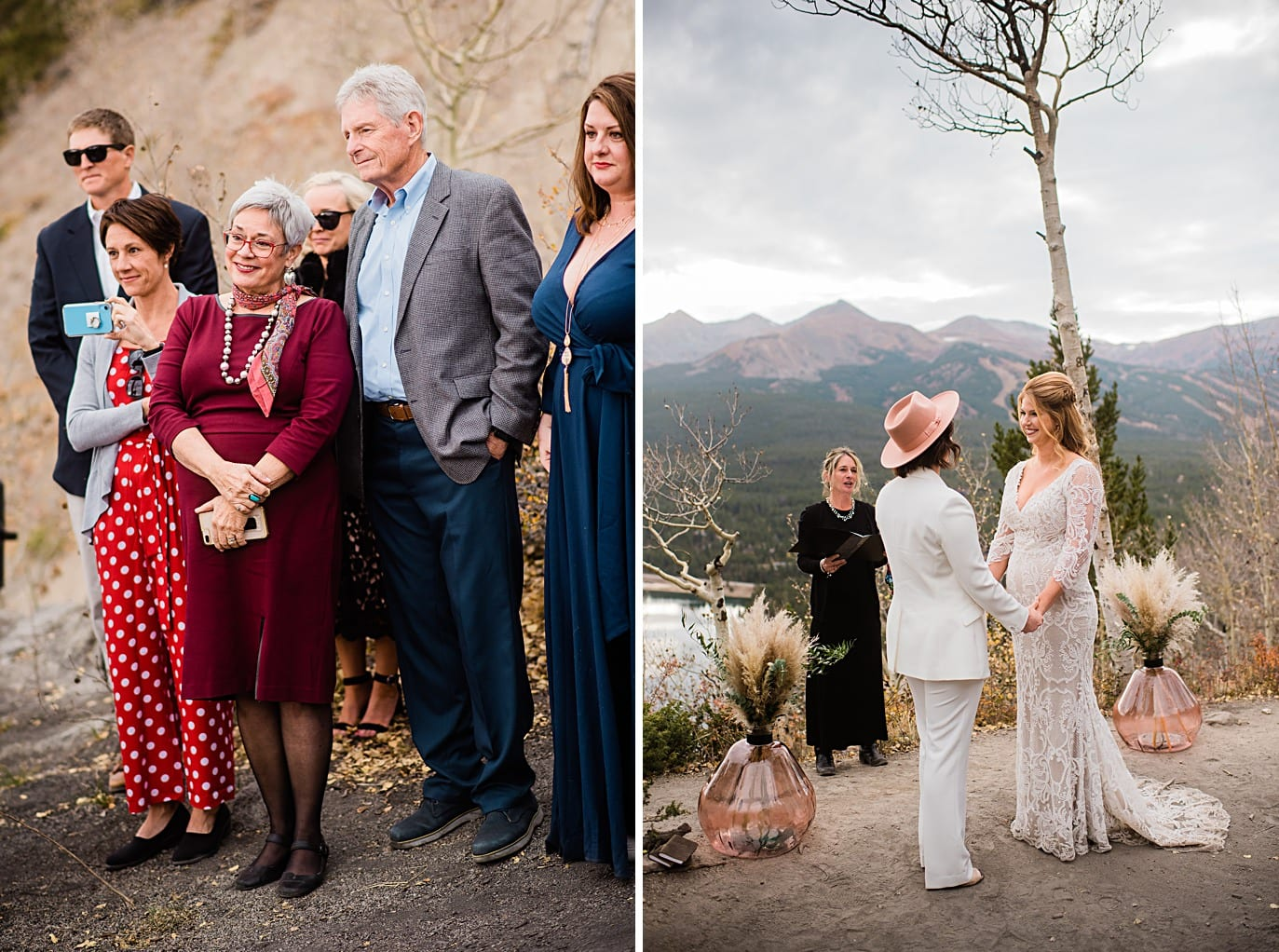 two brides and guests at Boreas Pass microwedding by Colorado gay wedding photographer Jennie Crate