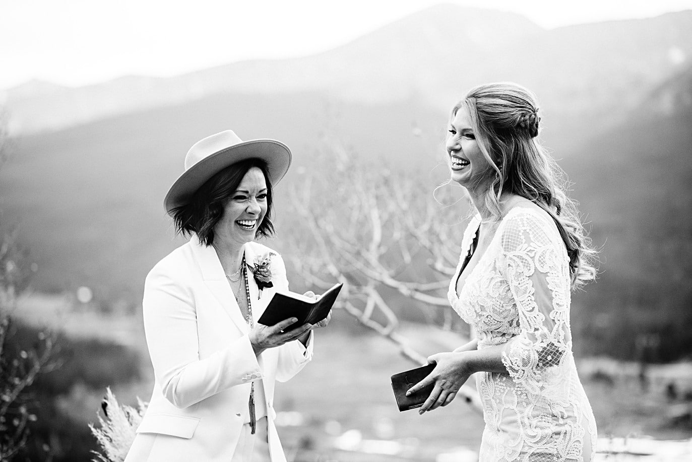 two brides exchange emotional vows at Boreas Pass microwedding by Colorado gay wedding photographer Jennie Crate