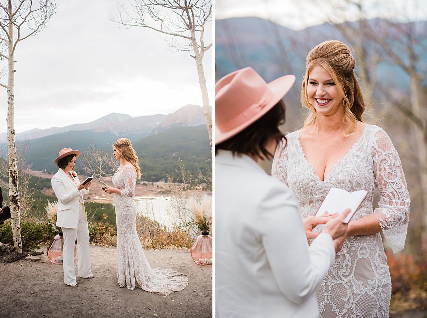brides exchange vows at Boreas Pass microwedding by Colorado gay wedding photographer Jennie Crate