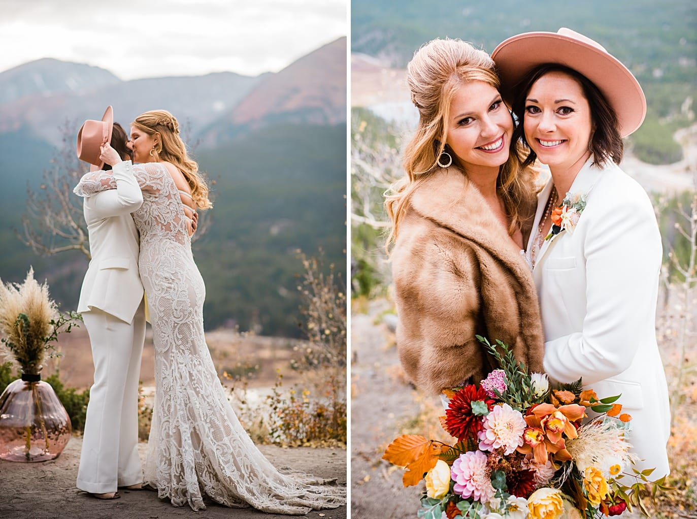 first kiss and post wedding photo at Boreas Pass microwedding by Colorado gay wedding photographer Jennie Crate