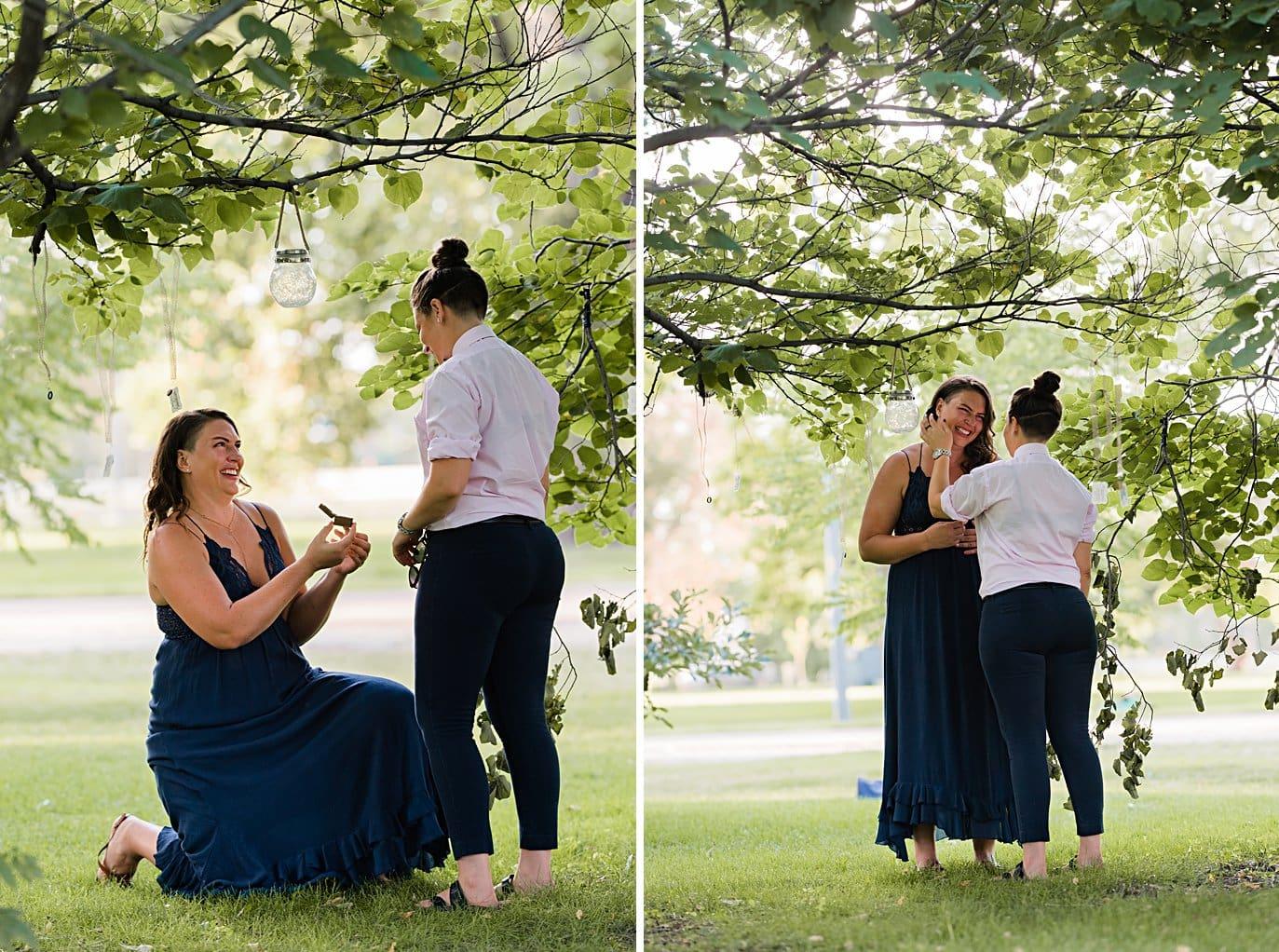 surprise proposal in City Park Denver by Denver proposal photographer Jennie Crate