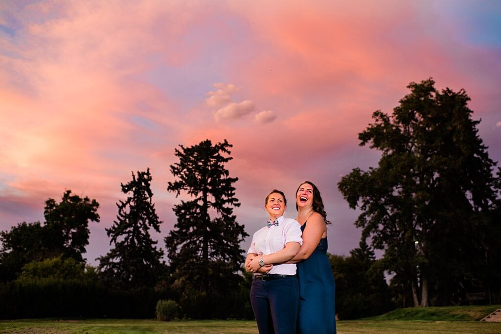 sunset queer proposal in City Park Denver by Denver proposal photographer Jennie Crate