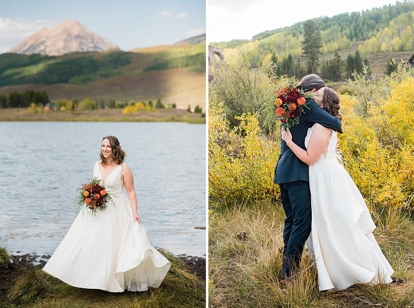 first look during fall elopement at Crested Butte Elopement by Crested Butte elopement photographer Jennie Crate