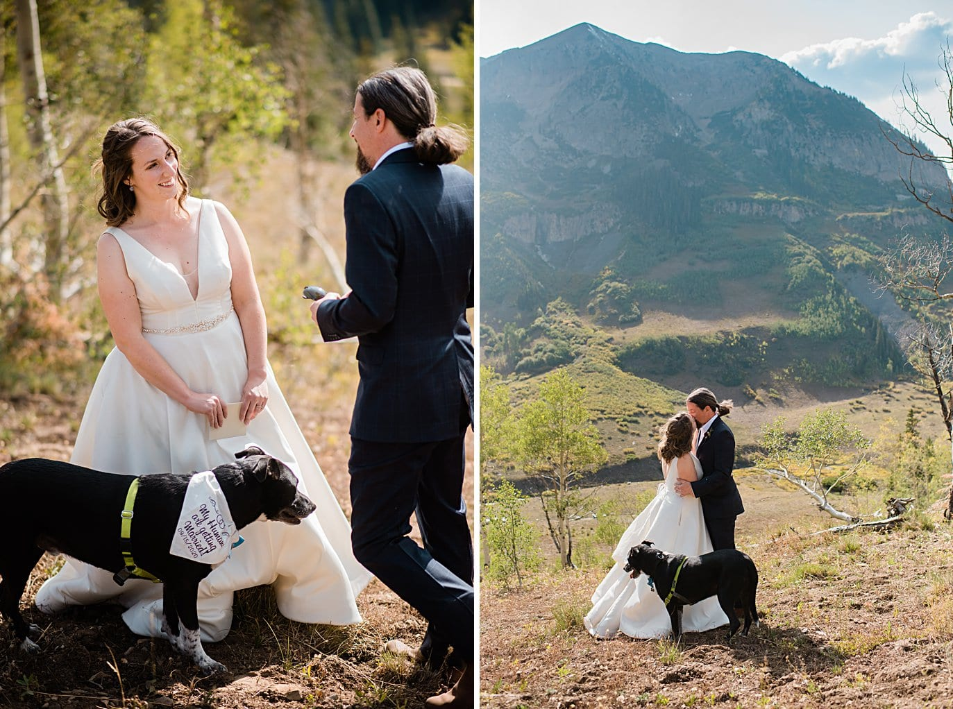bride and groom exchange vows and kisses during ceremony in Crested Butte for private elopement by Aspen wedding photographer Jennie Crate