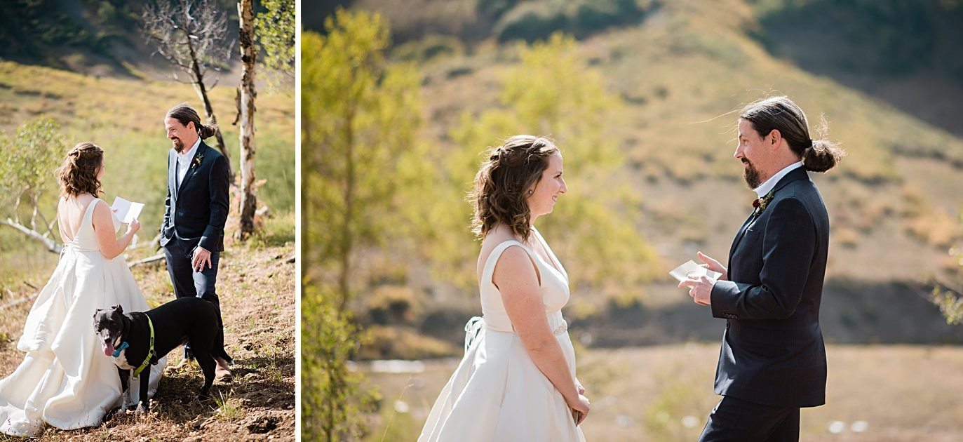 bride and groom exchange vows during self-solemnized ceremony in Colorado by Colorado wedding photographer Jennie Crate