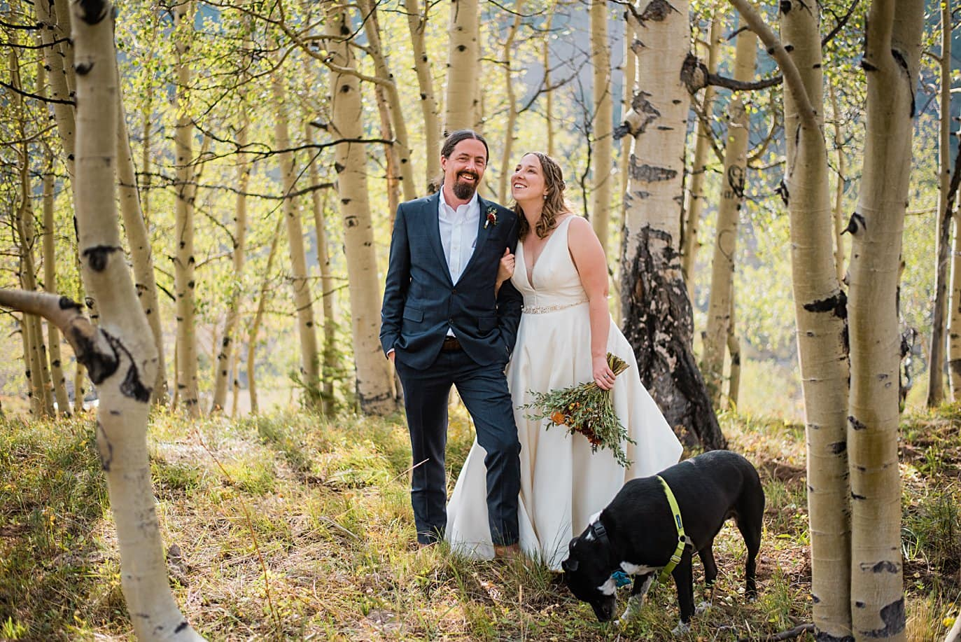 bride and groom with dog after ceremony in aspen trees in Colorado by Colorado wedding photographer Jennie Crate