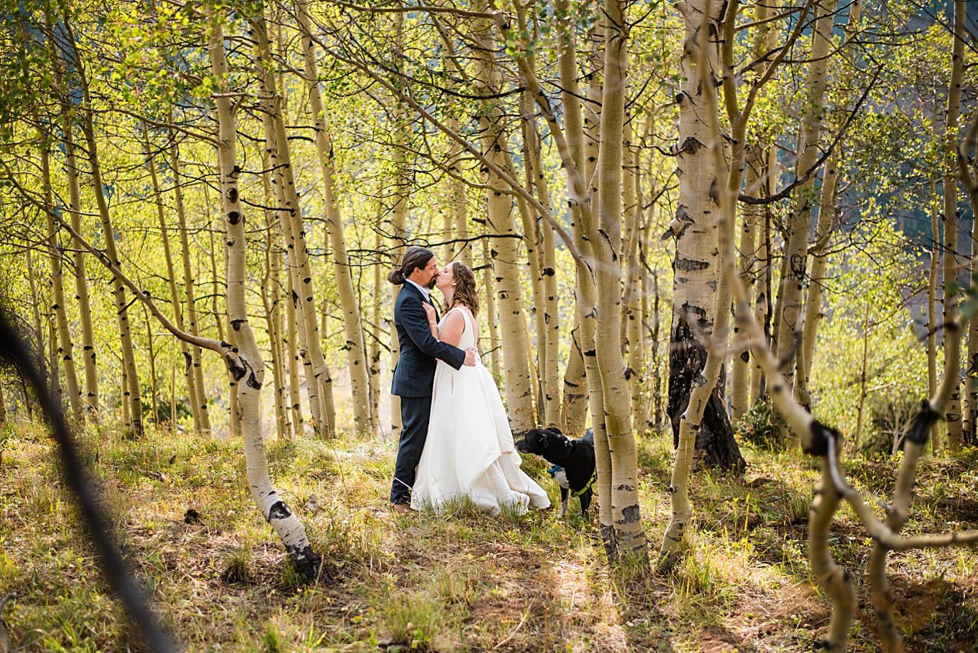 bride and groom in aspen trees after ceremony in Colorado by Colorado wedding photographer Jennie Crate