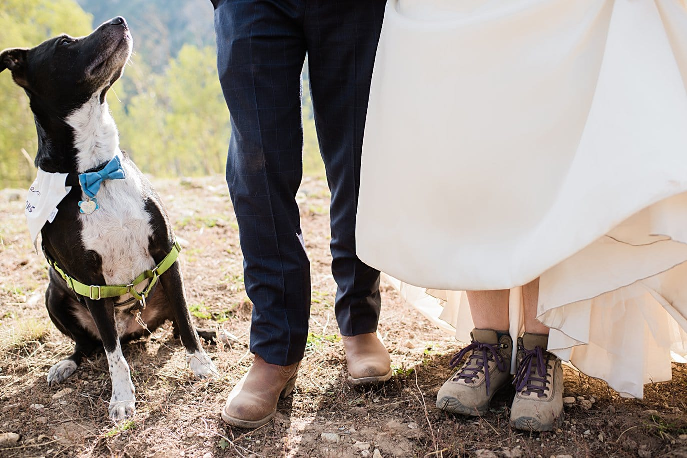 hiking boots under wedding dress on wedding day for Colorado elopement