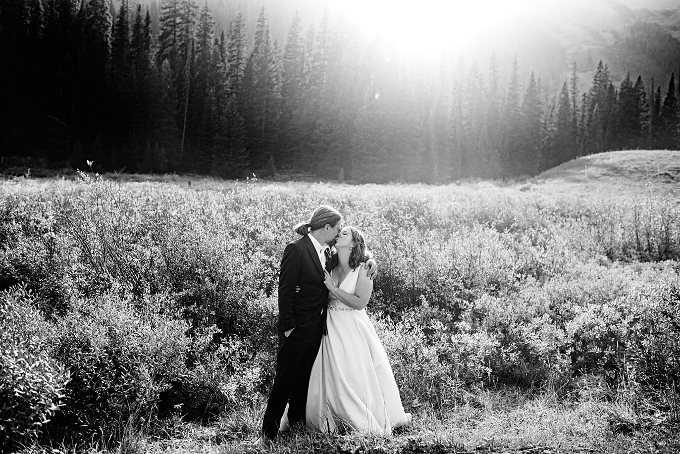 bride and groom at sunset with evergreen trees at Crested Butte elopement by Denver wedding photographer Jennie Crate