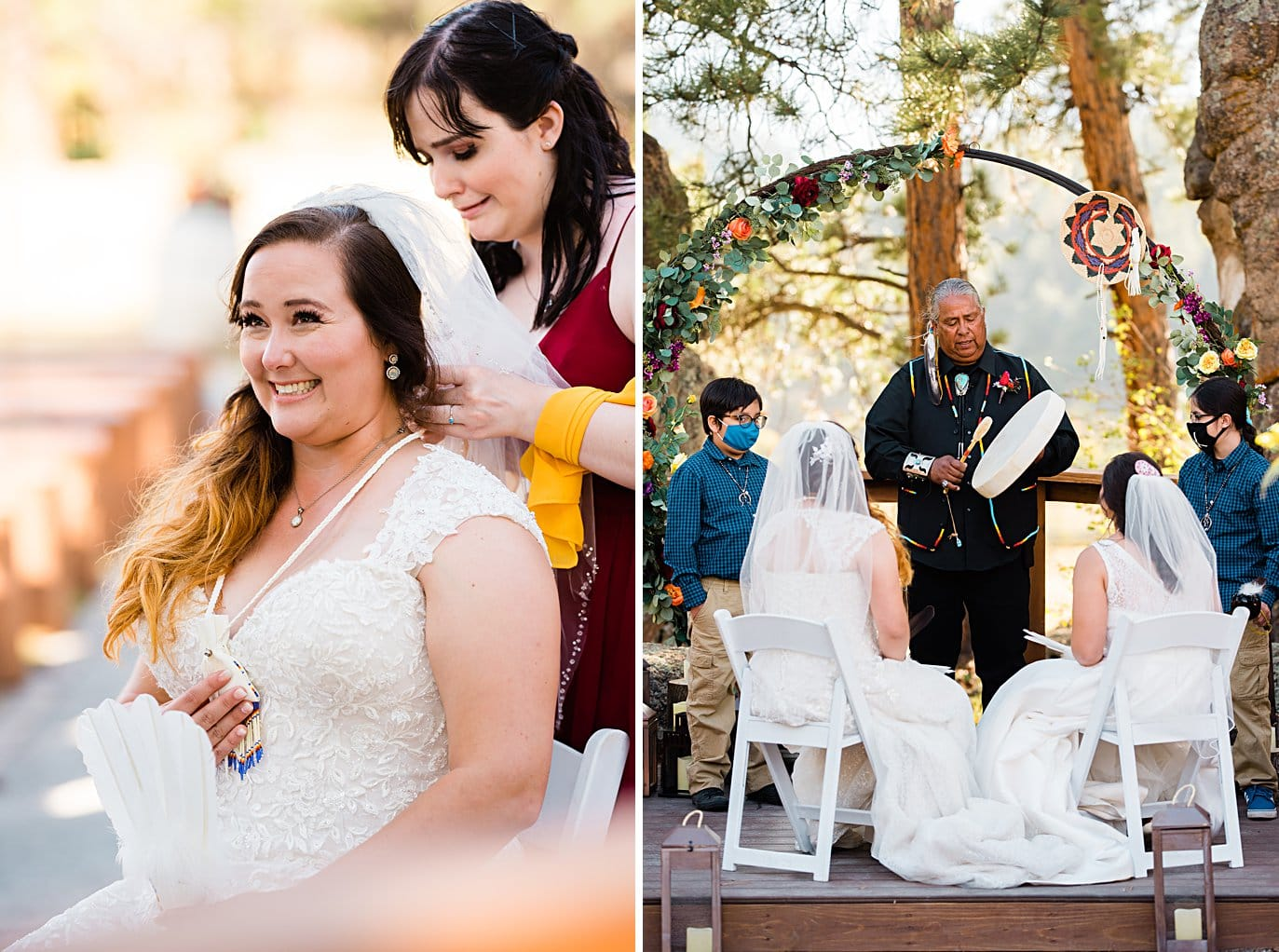 traditional native american wedding ceremony at fall Deer Creek Valley Ranch wedding by Denver wedding photographer Jennie Crate