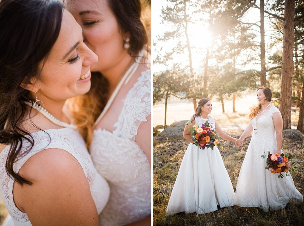 two brides sunset portraits at Deer Creek Valley Ranch same-sex wedding by Denver LGBT wedding photographer Jennie Crate