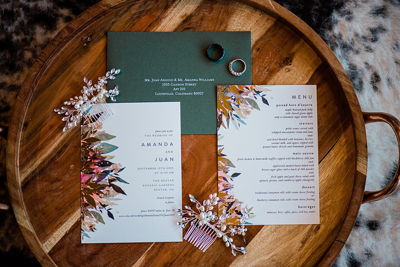 earthy invitation suit with bridal comb at Colorado wedding by boulder wedding photographer Jennie Crate