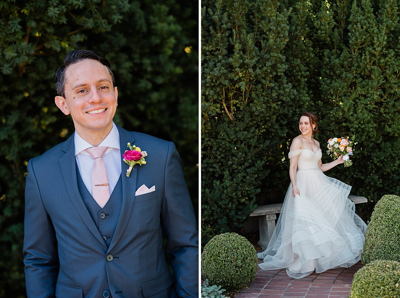 bride and groom individual portraits before the ceremony at Denver Botanic Gardens wedding by Denver wedding photographer Jennie Crate
