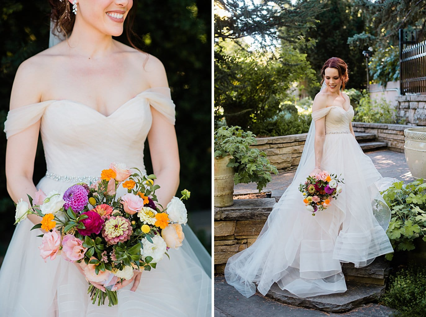 bride in princess dress with draped sleeves and colorful summer bouquet at Denver Botanic Gardens wedding by Denver wedding photographer Jennie Crate