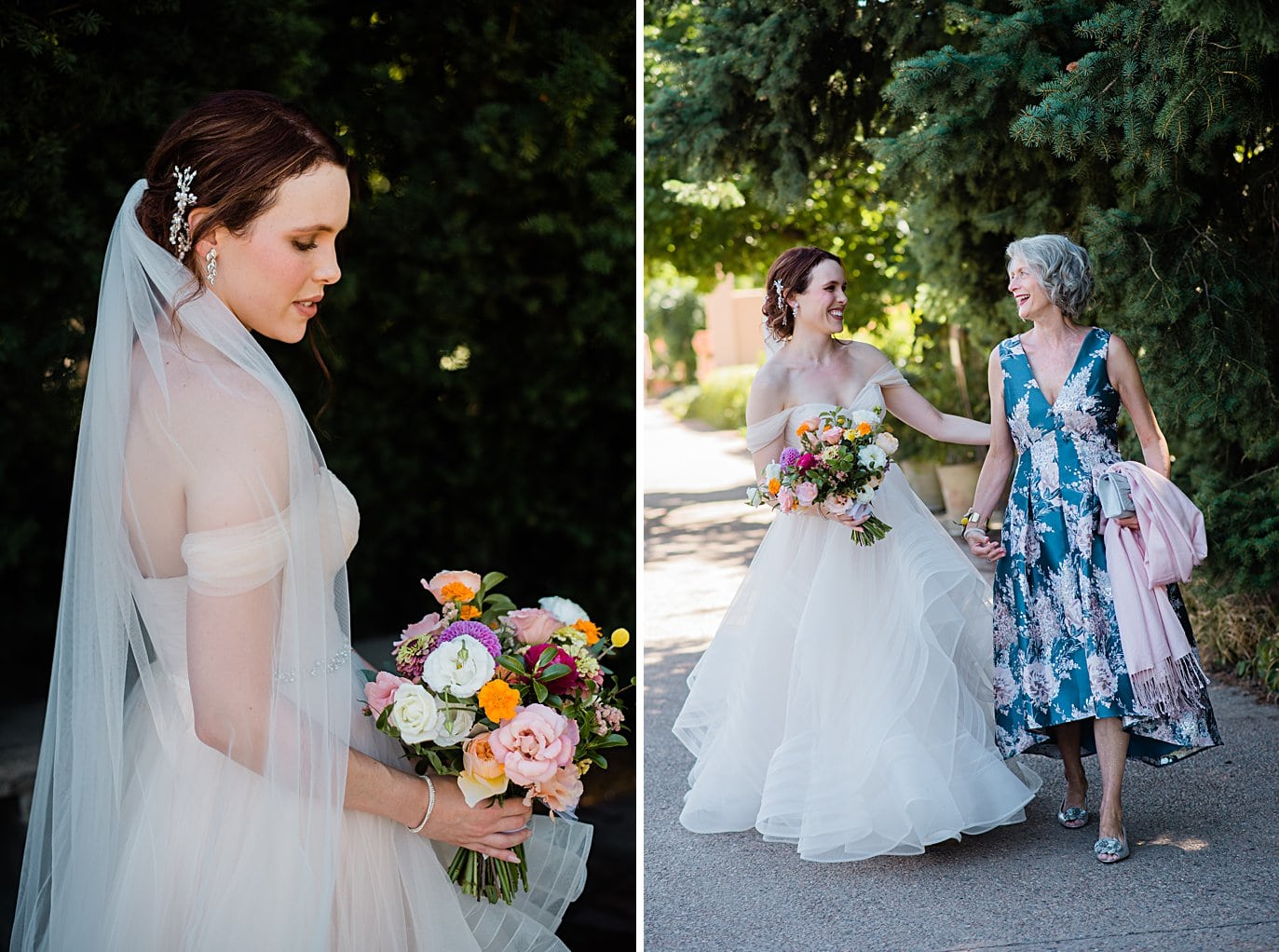 bride and mom walk to ceremony at Denver Botanic Gardens wedding by Denver wedding photographer Jennie Crate
