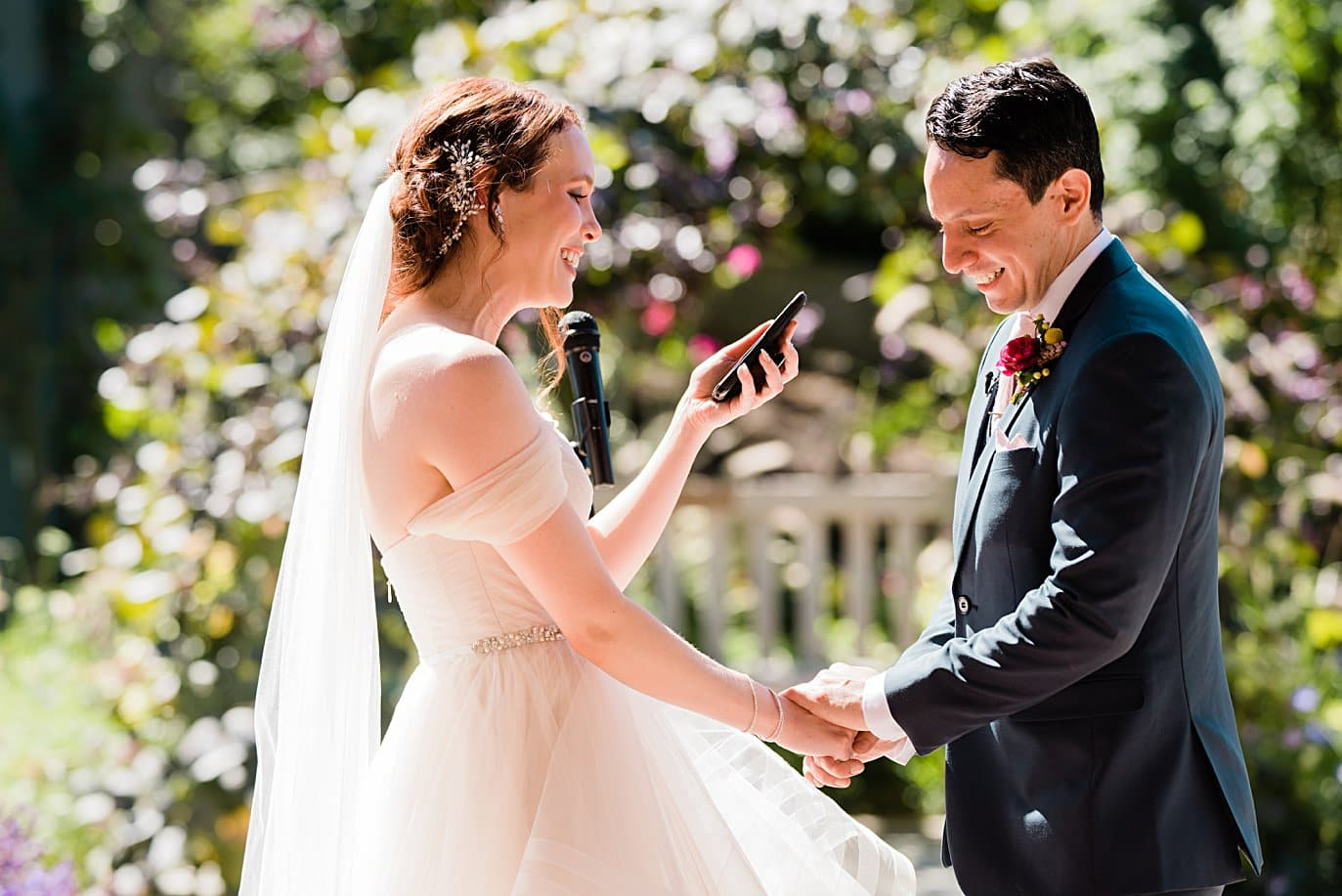 bride and groom say vows during self-solemnized cermony at Denver Botanic Gardens microwedding by Denver wedding photographer Jennie Crate