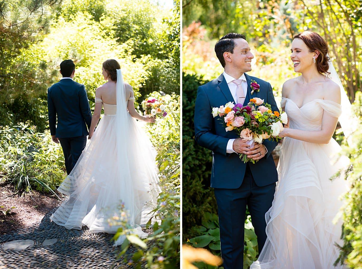 bride and groom walk in gardens after ceremony at Denver Botanic Gardens microwedding by Boulder wedding photographer Jennie Crate