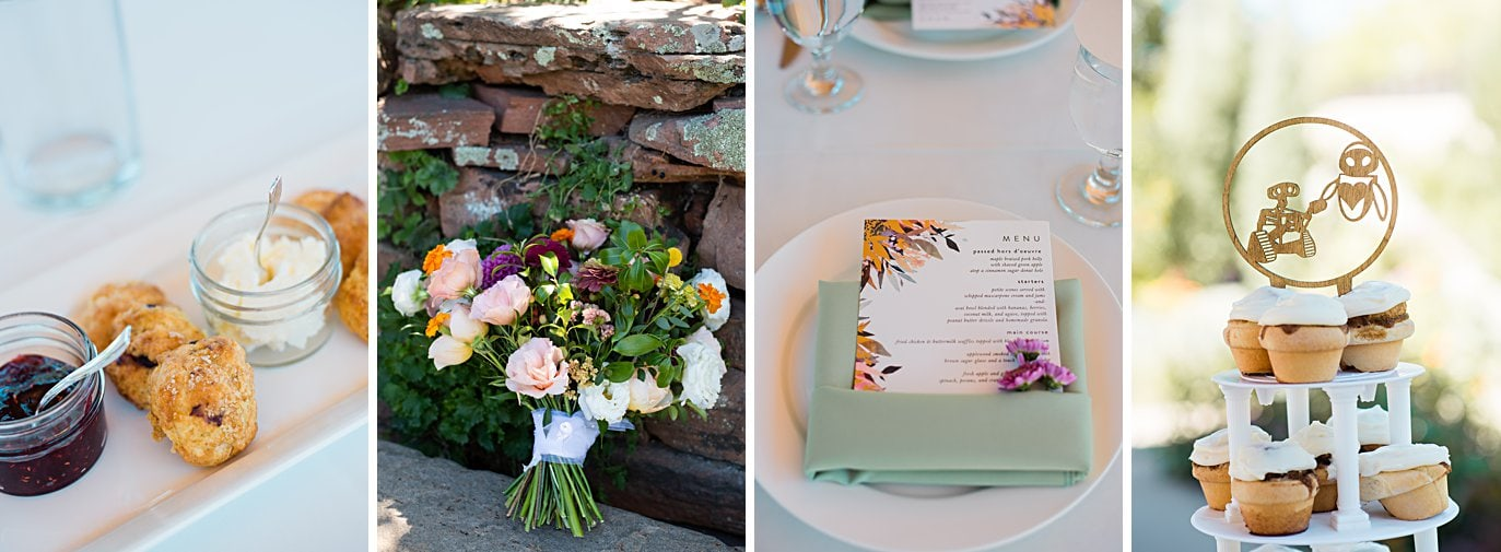colorful summer bouquet and water color brunch menu at Denver Botanic Gardens microwedding by Boulder wedding photographer Jennie Crate