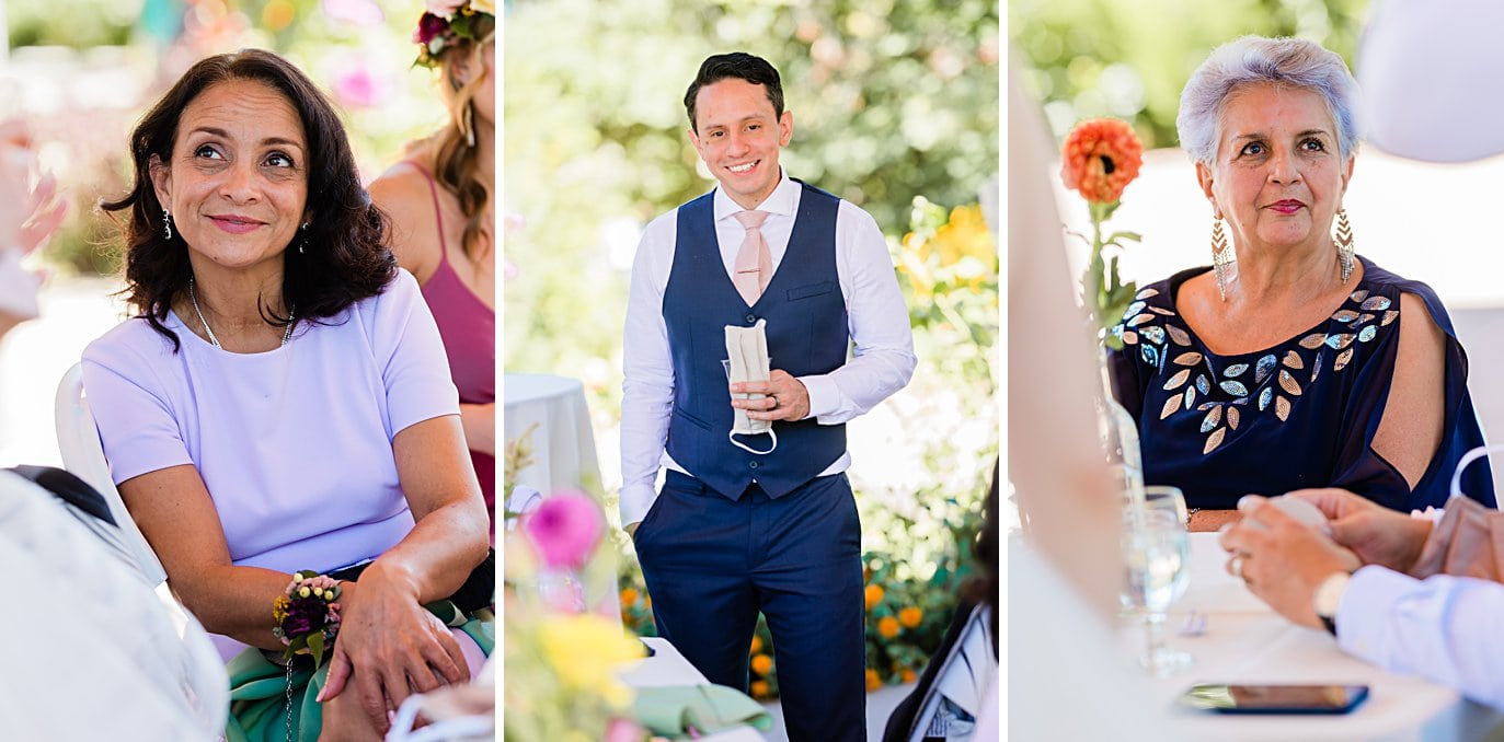 bride and groom mingle with guests in Annuals pavilion at Denver Botanic Gardens microwedding by Boulder wedding photographer Jennie Crate