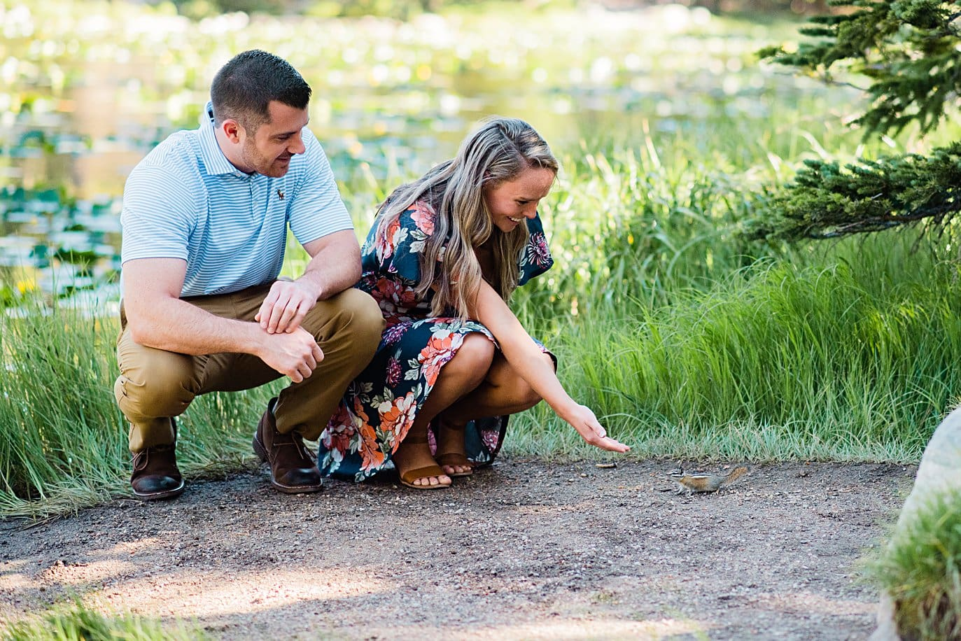 curious chipmunk on Rocky Mountain National Park trail dream lake engagement by Estes Park engagement photographer Jennie Crate