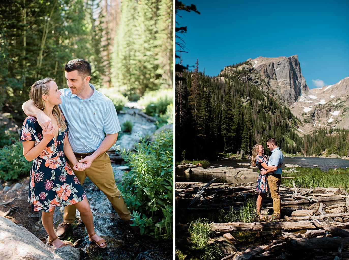 bride and groom playing by stream in Rocky Mountain National Park by Estes Park wedding photographer Jennie Crate