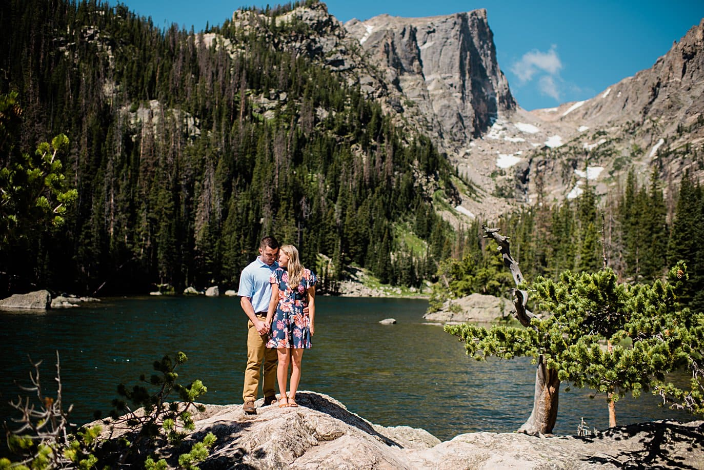 Dream Lake engagement session by Estes Park wedding photographer Jennie Crate