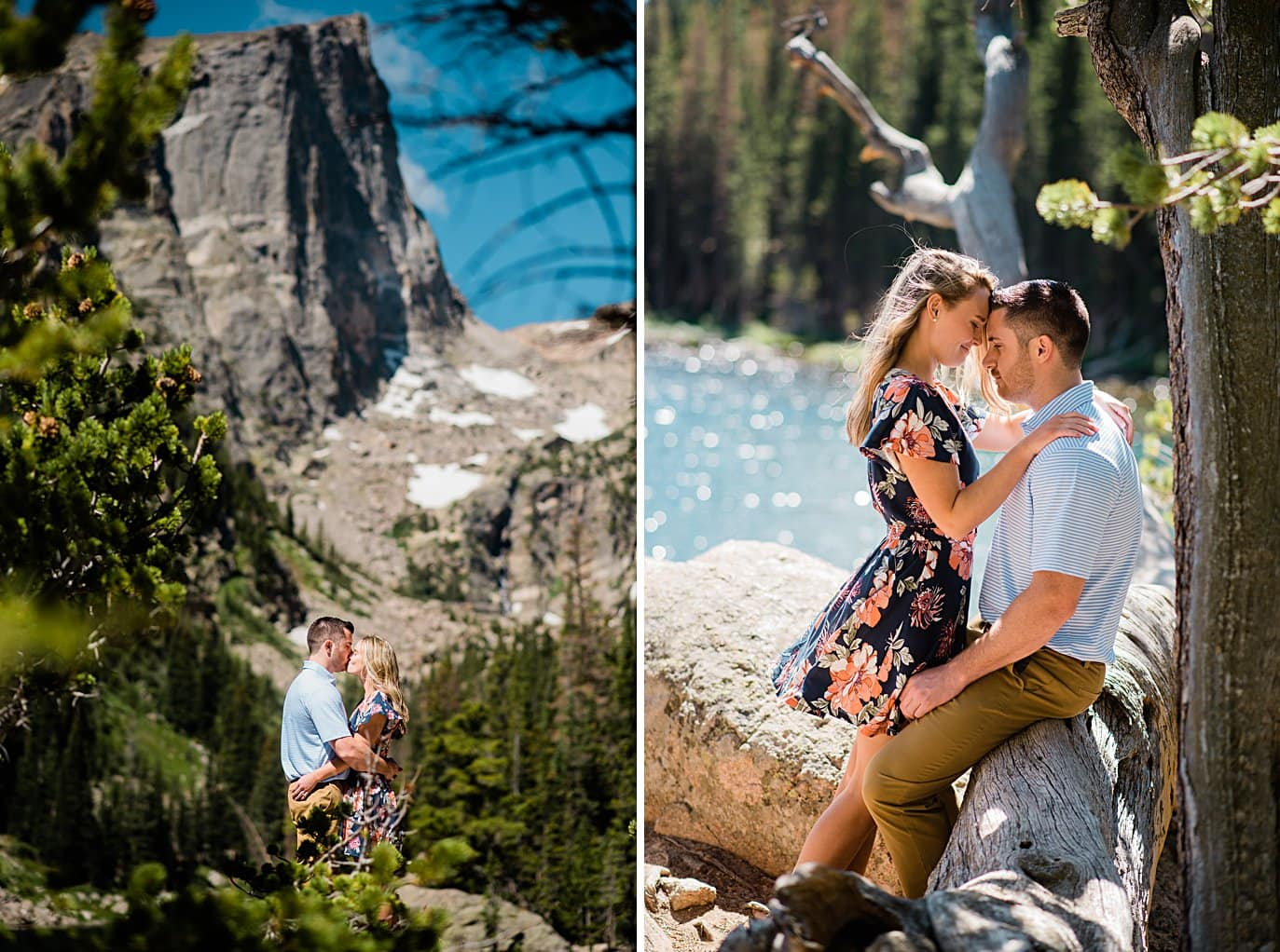 engaged couple hikes at dream lake engagement by Denver wedding photographer Jennie Crate