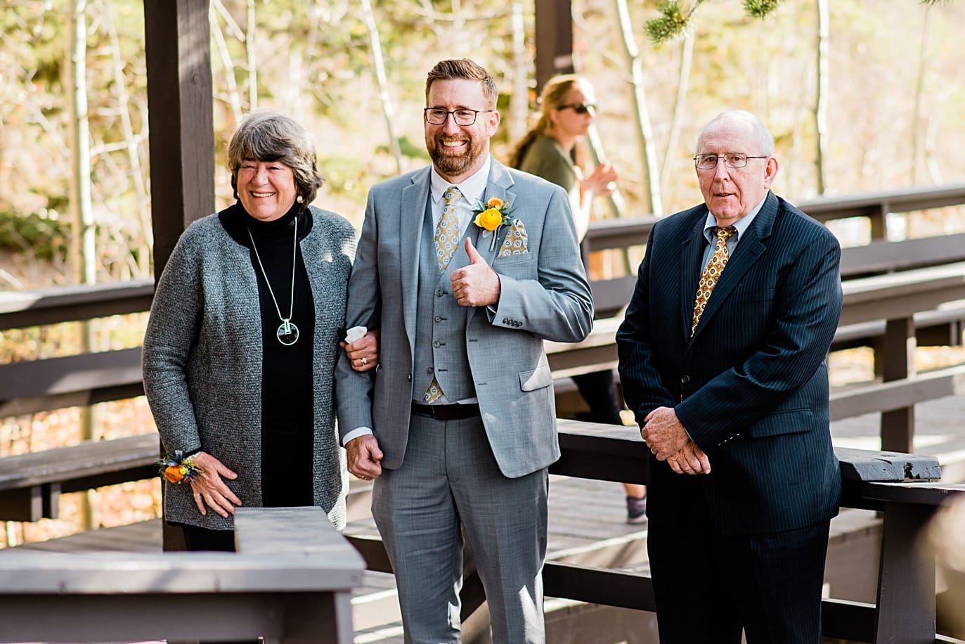 groom gets ready to walk down aisle at Golden Gate Canyon wedding by Golden wedding photographer Jennie Crate