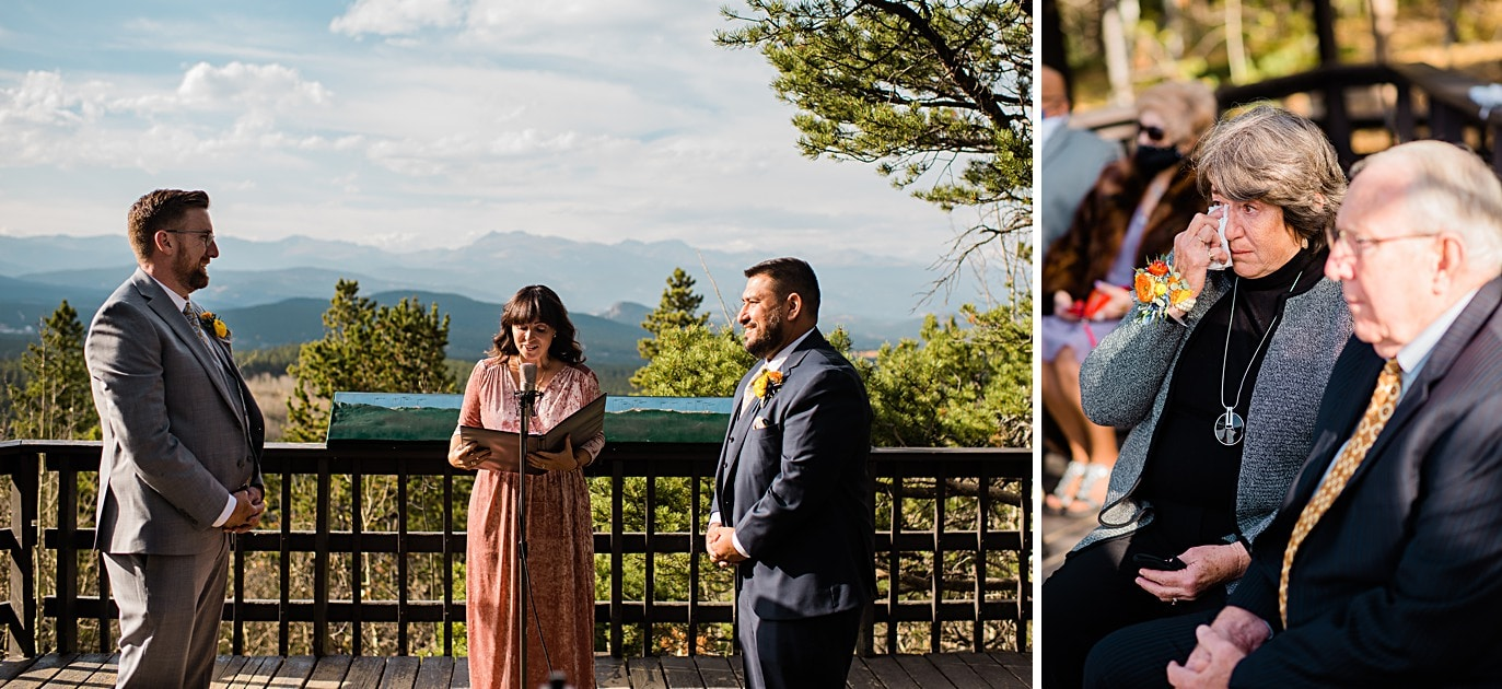 grooms listen to ceremony at Golden Gate Canyon microwedding by Golden wedding photographer Jennie Crate
