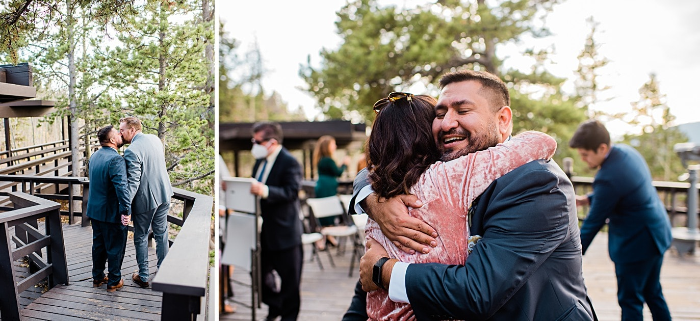 grooms hug guests and kiss after ceremony at Panorama point during LGBTQ wedding by Colorado LGBT photographer Jennie Crate